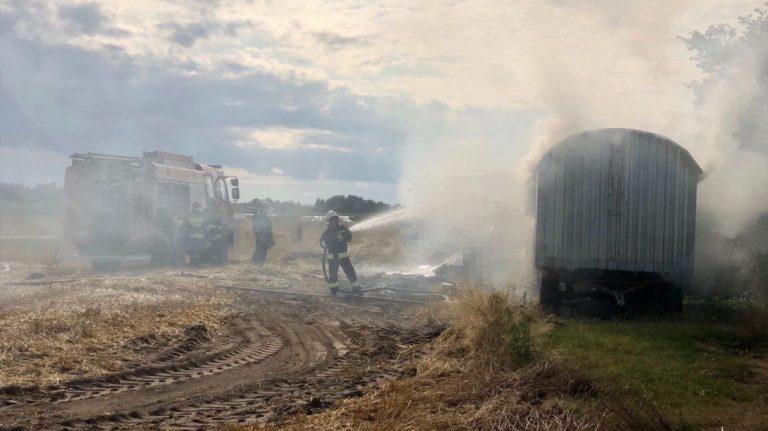 Pożar barakowozu w Zalesiu