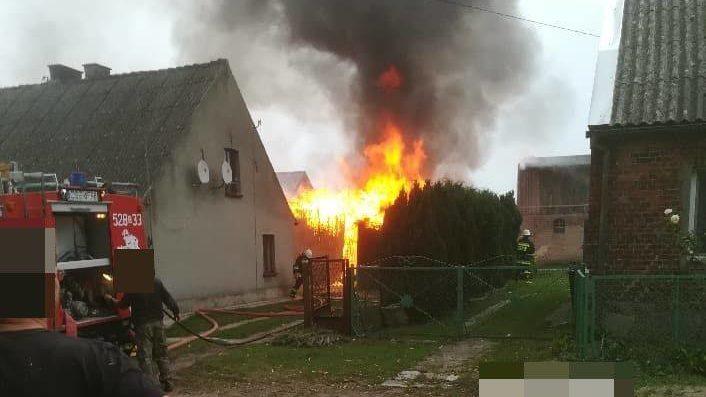 Wałdowo: Pożar budynku gospodarczego